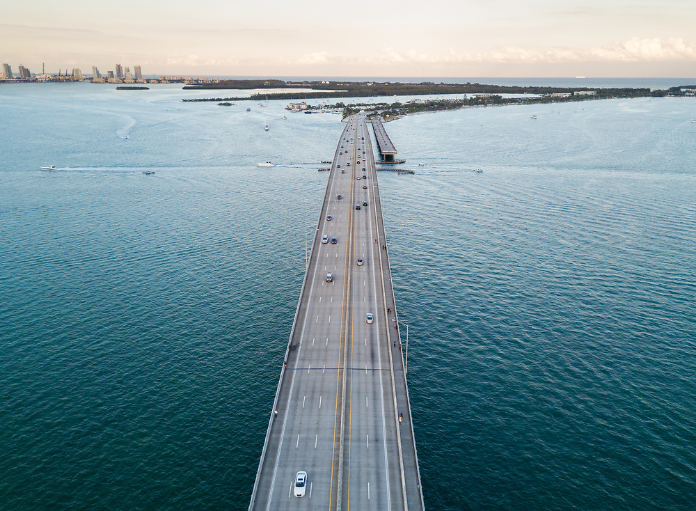 MIAMI, FLORIDA - CIRCA APRIL 2017: Aerial View of Rickenbacker Causeway Bridge in Miami