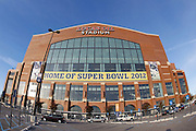 General view of the exterior of Lucas Oil Stadium prior to the Houston Texans NFL week 8 football game against the Indianapolis Colts on Monday, November 1, 2010 in Indianapolis, Indiana. ©Paul Anthony Spinelli
