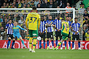 Norwich City midfielder Marco Stiepermann (18) takes a free kick during the EFL Sky Bet Championship match between Norwich City and Sheffield Wednesday at Carrow Road, Norwich, England on 19 April 2019.