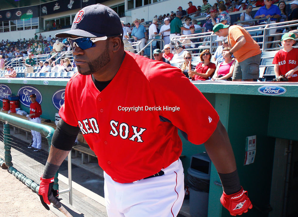 March 7, 2011; Fort Myers, FL, USA; Boston Red Sox first baseman David Ortiz (34) before a spring training exhibition game against the Baltimore Orioles at City of Palms Park.   Mandatory Credit: Derick E. Hingle