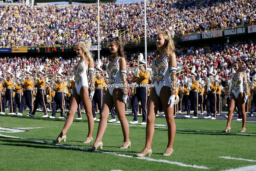 08 November 2008: The LSU band and Golden Girl dancers takes to the field prior to kickoff of the game between the Alabama Crimson Tide and the LSU Tigers at Tiger Stadium in Baton Rouge, LA.