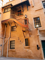 Historic restored buildings in Riddles Court off Lawnmarket in Edinburgh Old town, Scotland, UK