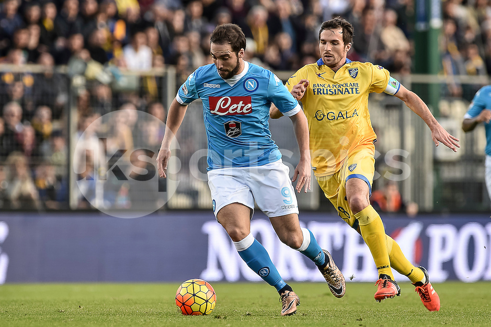 Gonzalo Higuain of Napoli in action during the Serie A TIM match between Frosinone and Napoli at Stadio Matusa, Frosinone, Italy on 10 January 2016. Photo by Giuseppe Maffia.