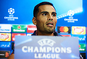 SEVILLE, SPAIN - AUGUST 21:  Gabriel Mercado of Sevilla FC attends the press conference prior to their UEFA Champions League match against Istambul Basaksheir at the Sevilla FC training ground on August 21, 2017 in Seville, Spain.  (Photo by Aitor Alcalde Colomer/Getty Images)