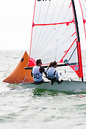 Miami, FL, USA, January 4, 2014 - Stephane Vinet and Sophie-Andree Vinet of the Royal St. Lawrence Yacht Club round the windward mark  at the 29er Nationals held at Coconut Grove Sailing Club, Jan 1-4, 2013.