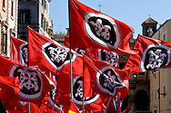 ROME, ITALY – MAY 21: Members of Italian far-right political movement CasaPound  Italy march against the European Union and immigration policy, on May 21, 2016 in Rome, Italy. (Photo by Stefano Montesi/Corbis via Getty Images)