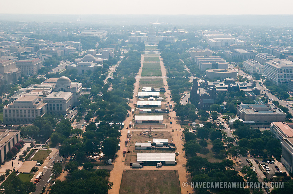 View from the viewing room of the Washington Monument at elevation of 500 feet.