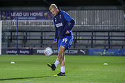 AFC Wimbledon striker Joe Pigott (39) warming up during the Leasing.com EFL Trophy match between AFC Wimbledon and Leyton Orient at the Cherry Red Records Stadium, Kingston, England on 8 October 2019.