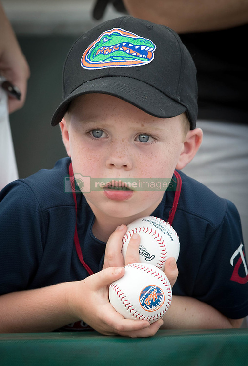 July 7, 2017 - Jupiter, Florida, U.S. - Barrett Dunstan, 5, West Palm Beach, waits patiently for an autograph as Tim Tebow enters Roger Dean Stadium for game against the Jupiter Hammerheads in Jupiter, Florida on July 7, 2017. (Credit Image: © Allen Eyestone/The Palm Beach Post via ZUMA Wire)