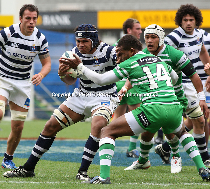 Auckland's Peter Saili is tackled by Manawatu's Lote Raikabula during the Air New Zealand Cup. Auckland v Manawatu. Eden Park, Auckland, New Zealand. Saturday 23 August 2008. Photo: Andrew Cornaga/PHOTOSPORT