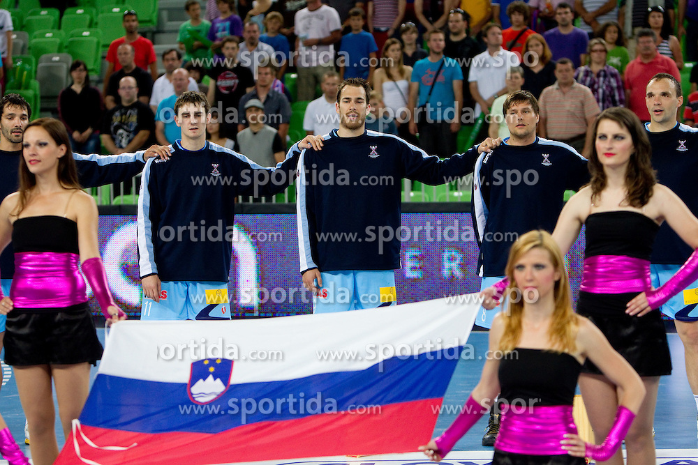 Team of Slovenia during handball match between National teams of Slovenia and Ukraine of 2012 EHF Men's European Championship Play-off, on June 12, 2011 in  Arena Stozice, Ljubljana, Slovenia.  (Photo By Vid Ponikvar / Sportida.com)