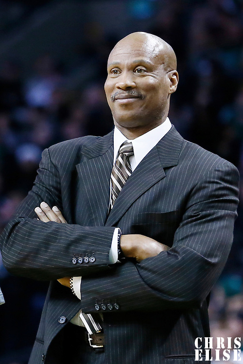 19 December 2012: Cleveland Cavaliers head coach Byron Scott smiles during the Boston Celtics 103-91 victory over the Cleveland Cavaliers at the TD Garden, Boston, Massachusetts, USA.