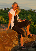 Andrea Johnson warrior yoga pose at Destiny Ridge vineyard, Horse Heaven Hills, Washington - thanks Jarrod Boyle of Alexandria Nicole Cellars for the great shots!!