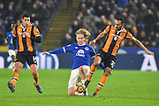 Tom Davies (26) Everton FC midfielder under attack from Hull City midfielder Ahmed Elmohamady (27) and Hull City midfielder Jake Livermore (14) during the Premier League match between Hull City and Everton at the KCOM Stadium, Kingston upon Hull, England on 30 December 2016. Photo by Ian Lyall.