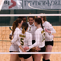 4th year outside hitter Ashlee Sandiford (1) of the Regina Cougars in action during Women's Volleyball home game on November 3 at Centre for Kinesiology, Health and Sport. Credit: Casey Marshall/Arthur Images