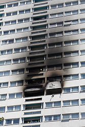© Licensed to London News Pictures. 29/06/2018. London, UK.  The scene at Grafton House in Bow, east London where a fire broke out earlier today.  Photo credit: Vickie Flores/LNP