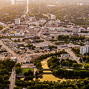 Guelph at sunset from an airplane, with covered bridge in foreground.