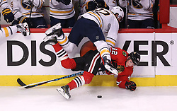 January 5, 2017 - Chicago, Illinois, U.S. - The Buffalo Sabres' MARCUS FOLIGNO  (82) falls on the Chicago Blackhawks' GUSTAV FORSLING  (42) in the second period at the United Center. (Credit Image: © Chris Sweda/TNS via ZUMA Wire)