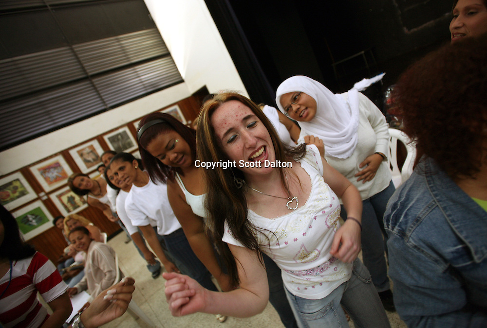 The INOF Women's Prison Orchestra rehearses at a woman's prison in Los Teques, on the outskirts of Caracas on May 29, 2008. (Photo/Scott Dalton)