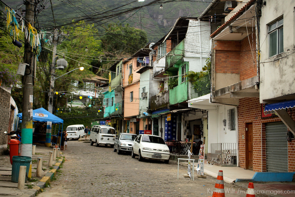 South America, Brazil. Rio de Janiero. Favela of Vila Canoas street scene.