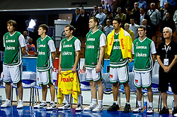 Team of Slovenia  during a minute's silence following the Ruda Slaska-Kochlowice, Southern Poland, coal mining accident which claimed the lives of at least 12 coal miners before the EuroBasket 2009 Quaterfinals match between Slovenia and Croatia, on September 18, 2009, in Arena Spodek, Katowice, Poland.  (Photo by Vid Ponikvar / Sportida)
