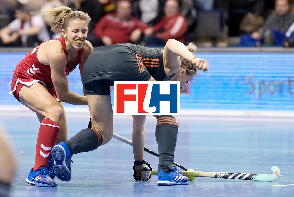 BERLIN - Indoor Hockey World Cup<br /> Women: Netherlands - United States<br /> foto: BARHAM Mary and Lieke van WIjk.<br /> WORLDSPORTPICS COPYRIGHT FRANK UIJLENBROEK