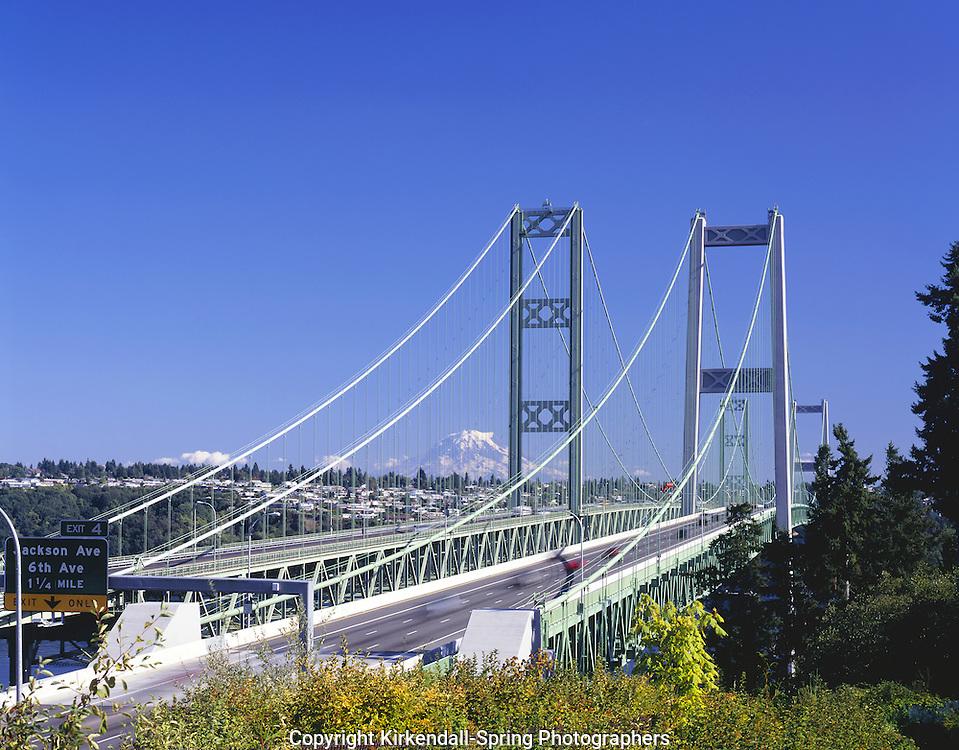 AA08254-02...WASHINGTON - The Tacoma Narrows Bridge with Mount Rainier in the distance.