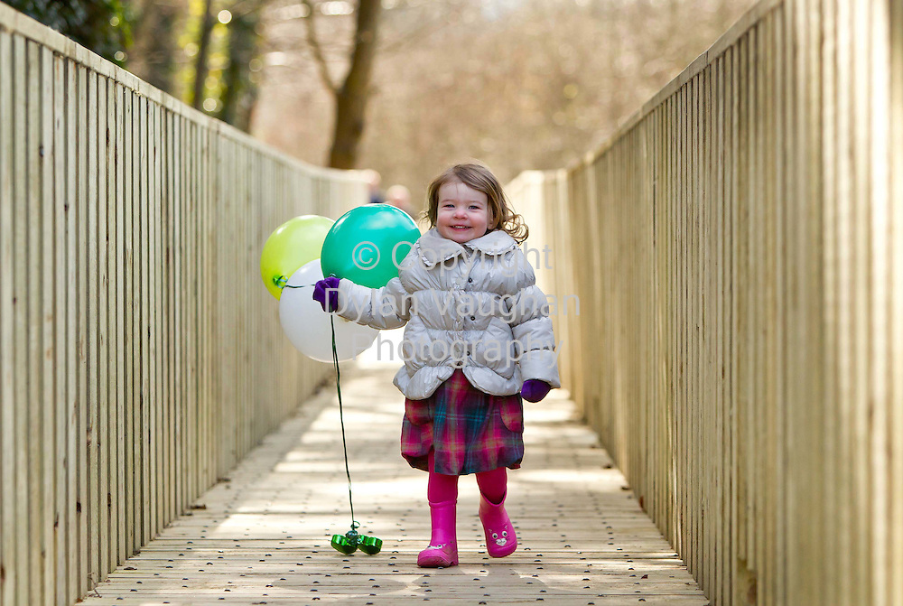 5/3/2012.no charge for media repro.....Doireann Corr aged 2 from Kilkenny pictured at the launch of Kilkenny Walking Festival,  the citys first ever Walking Festival which runs in the city and county throughout the month of April. The festival is about lots more than just walking and the organisers want enthusiasts of all levels, families, groups and individuals to pack a picnic, join in a walk in the bluebells or a Scavenger Hunt, enjoy walks along the riverbank and barbecues, feast on local Lavistown sausages, Highbank Apple Juice and learn all about foraging in the wild. The Kilkenny Walking Festival Programme is available from the Tourist Information Office in the city or to download from www.trailkilkenny.ie.Picture Dylan Vaughan Photography.