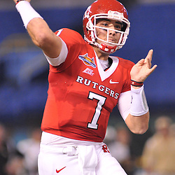 Dec 19, 2009; St. Petersburg, Fla., USA; Rutgers quarterback Tom Savage (7) passes on the run during NCAA Football action in Rutgers' 45-24 victory over Central Florida in the St. Petersburg Bowl at Tropicana Field.