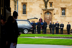 © Licensed to London News Pictures. 14/10/2019. Oxford, UK.  Funeral of PC Andrew Harper in Christ Church, Oxford. In this picture: The coffin is  carried out after the service. Photo credit: Cliff Hide/LNP