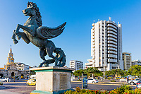 Cartagena , Colombia  - March 5, 2017 : Pegasus Statues in Centro Historico<br /> area of Cartagena de los indias Bolivar in Colombia South America