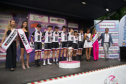 Team Sunweb celebrates finishing second on Stage 1 of the Giro Rosa - a 11.5 km team time trial, between Aquileia and Grado on June 30, 2017, in Friuli-Venezia Giulia, Italy. (Photo by Balint Hamvas/Velofocus.com)
