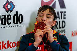 November 10, 2018 - Madrid, Madrid, Spain - Sandra Sanchez (ESP) attends after win the gold medal and win the tournament of Female Kata tournament during the Finals of Karate World Championship celebrates in Wizink Center, Madrid, Spain, on November 10th, 2018. (Credit Image: © AFP7 via ZUMA Wire)