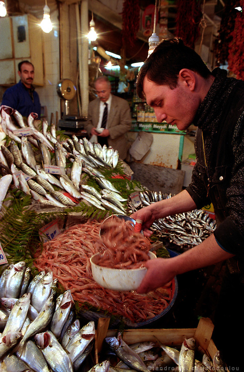 """Fish shop in an old covered markets in """"Beyoglu""""..ISTANBUL, Androniki Christodoulou/WorldPictureNews"""