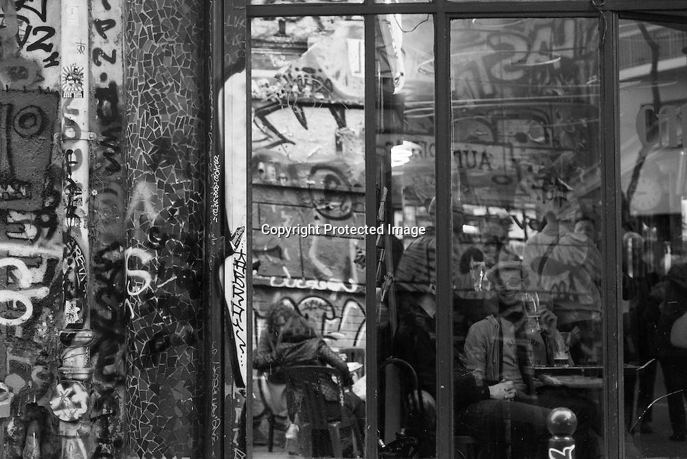 France. Paris 20th district. Aux folies, Trendy cafe bar rue de Belleville. and  rue Denoyer. covered with mural art