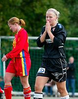 Retter stavefeil.<br /> <br /> Fotball NM semifinale kvinner. Røa - Arna-Bjørnar 1-3. Bente Musland, Arna Bjørnar fortviler.<br /> <br /> Foto: Andreas Fadum, Digitalsport