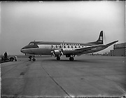 """21/01/1956<br /> 01/21/1956<br /> 21st January 1956<br /> Aer Lingus special - aircraft with new markings at Dublin Airport, the Vickers Viscount 700 """"Breandán"""". Note tractor unit being coupled to the aircraft."""