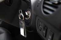 Car ignition with key, close-up