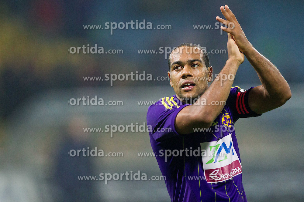 Marcos Tavares #9 of Maribor  celebrates after winning during football match between NK Maribor and NK Olimpija Ljubljana in 13th Round of Prva liga Telekom Slovenije 2013/14 on October 6, 2013 in Stadium Ljudski vet, Maribor, Slovenia. Maribor defeated Olimpija 2-0.(Photo by Vid Ponikvar / Sportida)