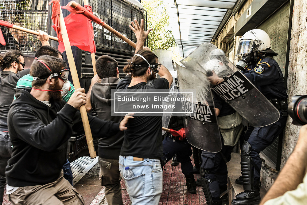 Protesting students clash with riot police during a protest against newly announced educational reforms and the lifting of the universities asylum, in Athens, Greece on October 24, 2019<br /> <br /> Pictured: <br /> Dimitris Lampropoulos  | EEm date
