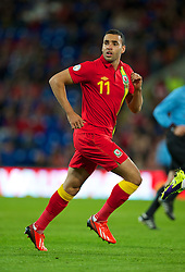 CARDIFF, WALES - Friday, October 11, 2013: Wales' Hal Robson-Kanu in action against Macedonia during the 2014 FIFA World Cup Brazil Qualifying Group A match at the Cardiff City Stadium. (Pic by David Rawcliffe/Propaganda)