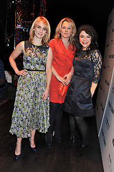 Left to right, TRISH HALPIN editor of Marie Claire, CHARLOTTE MOORE editor of Runway and JUSTINE SOUTHALL publisher of Marie Claire at a party to celebrate the launch of the Marie Claire Runway Magazine held at Le Baron a The Embassy, Old Burlington Street, London on 1st February 2012.
