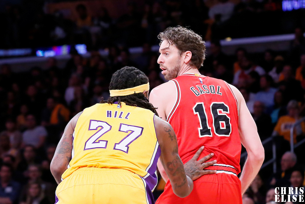 29 January 2015: Chicago Bulls forward Pau Gasol (16) looks to pass the ball over Los Angeles Lakers center Jordan Hill (27) during the Los Angeles Lakers 123-118 2OT victory over the Chicago Bulls, at the Staples Center, Los Angeles, California, USA.
