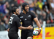 All Blacks' Piri Weepu congratulates Victor Vito on his try during the All Blacks v Canada pool A match of the 2011 IRB Rugby World Cup at Wellington Regional Stadium, New Zealand on Sunday, 2 October 2011. Photo: Dave Lintott / photosport.co.nz