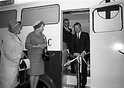 15/11/1965<br /> 11/15/1965<br /> 15 November 1965<br /> Inauguration of Blue Cross Mobile Clinic at the Intercontinental Hotel, Dublin. Picture shows Mr Charles J. Haughey T.D. Minister for Agriculture and Fisheries, performing the ceremony, watched by (l-r) Miss C. McManus; Mrs Moya Mahon, Vice Chairman of Blue Cross and Mr Benny McManus, Chairman of Blue Cross.