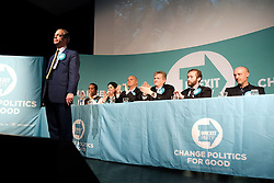 Brexit Party Rally, Edinburgh, Friday 17th May 2019<br /> <br /> The Brexit Party held a rally in the Corn Exchange, Edinburgh today with leader Nigel Farage giving a speech.<br /> <br /> A protest was held outside by the Stand Up To Racism group.<br /> <br /> Pictured: Nigel Farage with his Scottish EU candidates (l to r) Louis Stedman-Bryce, Karina Walker, Paul Aitken, Jim Ferguson, Calum Walker and Stuart Waiton.<br /> <br /> Alex Todd | Edinburgh Elite media