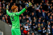 Adam Bogdan of Hibernian FC protesting to the referee during the Ladbrokes Scottish Premiership match between St Mirren and Hibernian at the Simple Digital Arena, Paisley, Scotland on 29th September 2018.