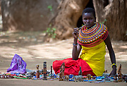 Samburu woman and her shop. Photo from the Samburu District, Kenya.