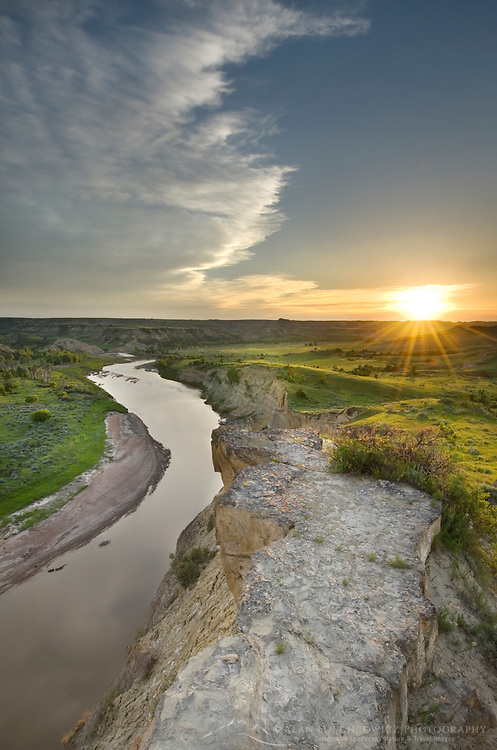 Sunset over the Little Missouri River, Theodore Rossevelt National Park, North Dakota