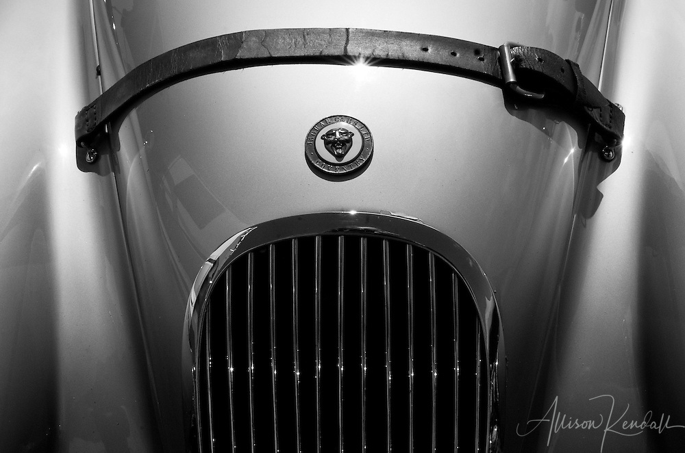 Vintage Jaguar, detail seen at Laguna Seca during the Reunion events of Monterey Car Week